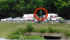 Lastvognschaufføren tog nogle billeder fra stedet, hvor der havde været en ulykk