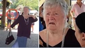 Den 85-årige dame stiller op til at få taget et billede.  Det, der sker omkring