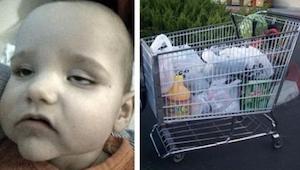 Mens hun var på indkøb, satte hun ham op i indkøbsvognen. Hun var ikke klar over