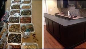 Faren samlede kapsler for at renovere deres køkken. Resultatet er enhver perfekt