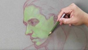 Se hvordan denne kunstner tegner et portræt, hans metode er... Usædvanlig!
