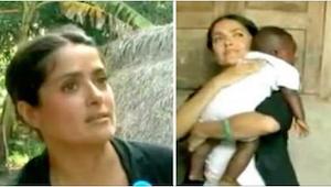 Salma Hayek tog et sultent barn fra Afrika. Det hun gjorde har forbløffet alle.