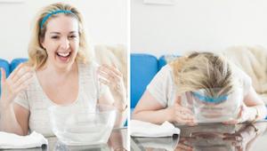 Flere og flere kvinder dypper ansigtet i mineralvand med bobler i 30 sekunder. F