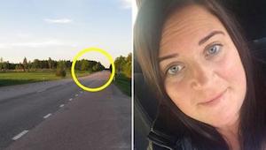 En kvinde kørte på motorvejen, da hun pludselig blev omringet af andre biler. Da
