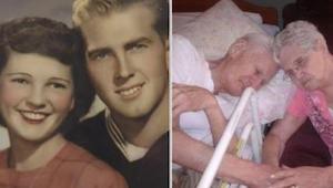 Manden udåndede i armene på sin elskede hustru; da deres datter kiggede på moren