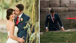 Brudeparret var i gang med at stille op til fotografering på broen, da brudgomme