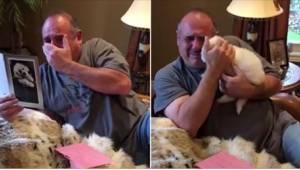 Hans kone og datter gav ham en fødselsdagsgave, der rørte ham til tårer.