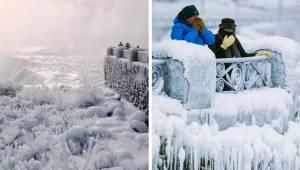 I USA er det så koldt, at selv Niagara vandfaldet er frosset til. Alt ser nu ud