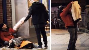 Den fremmede giver en ny jakke til de hjemløse, så  optager det skjulte kamera n