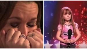 Den seksårige afslører, hvilken sang hun vil synge; da dommerne hører hendes ste