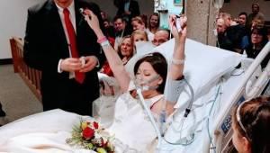 Den kræftramte kvinde bliver gift på hospitalet. 18 timer senere kigger hendes m