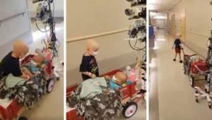 En bevægende optagelse, hvor den kræftsyge dreng hjælper sin ven på hospitalet,