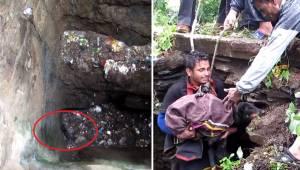 Hunden faldt ned i et dybt hul og vidste ikke, hvad den skulle gøre. Da de frivi