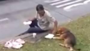Den hjemløse mand har en smule mad, men da han ser en hjemløs hund, spekulerer h